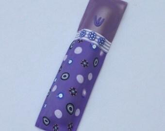 Special Mezuzah case in a purples, millefiori, polymer clay