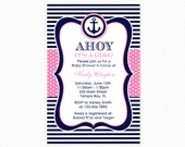 Nautical Baby Shower Invitation in Pink and Blue, It's a Girl, Personalized, Printable and Printed