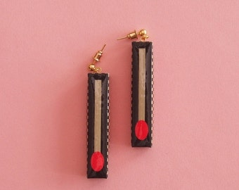 """SALE Matchstick Earrings  // Geometric Earrings // Graphic Earrings // Matchstick Print // Mod Jewelry // Kitsch Jewelry // The """"Stay Lit"""""""