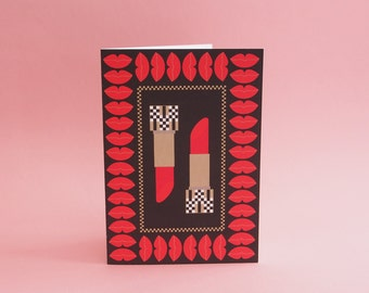 "Blank Greeting Card 5X7"" // Lip Stick Print // Lip Print // ""Lipstick Love"" // Friendship Card // Romantic Card // Valentine's Card"