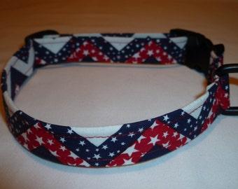 Dog Collar, Handmade Dog Collar, Patriotic, Red, White & Blue