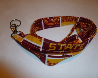 Fabric Lanyard, Cyclones, Iowa State, ID Badge Holder, Keychain