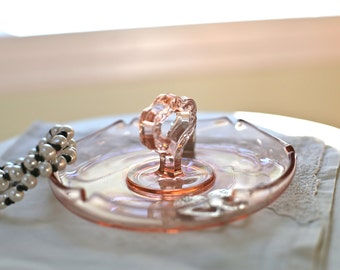 Pink glass jewelry dish tray for rings ring holder