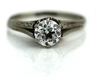 Antique Engagement Ring Art Deco Diamond Engagement Ring .85ctw Solitaire 14K White Gold Antique Filigree Ring Vintage Deco Engagement Ring!