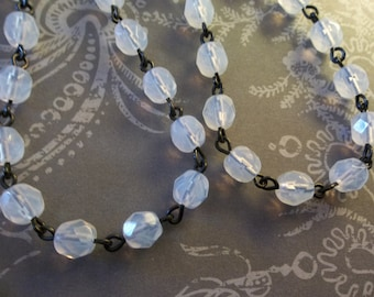 White Opal 6mm Fire Polished Glass Beads on Jet Black Beaded Chain - Qty 18 Inch strand