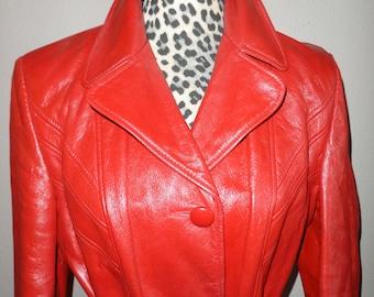 Vintage Red Leather Mod ESPRIT Coat Sz M