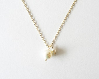Pearl Duo | Ivory | Gold Filled Swarovski Pearl Necklace
