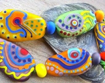 Calypso - Handmade Lampwork Bead Set (11) by Anne Schelling, SRA