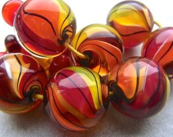 Miss Marbles - Handmade Lampwork Bead Set (17) by Anne Schelling, SRA