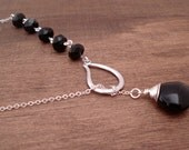 Black Lariat Necklace Silver Lariat Wire Wrapped Jewelry Black Jade and Crystal Necklace Collier Lasso Noir Gift Idea