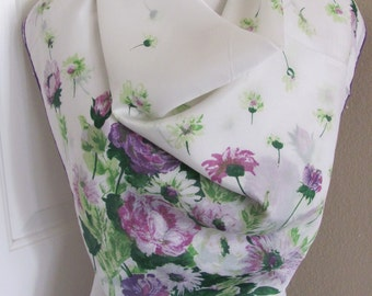 "Beautiful White Purple Floral Silk Blend Scarf  // 31"" Inch 78cm Square"