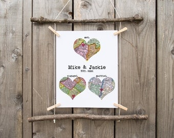 Personalized Map Art Heart Print Met Engaged Married Wedding Engagement Custom Gift 3 Heart