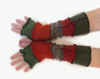 Upcycled Fingerless Gloves  Brown Green Armwarmers Recycled Wrist warmers Stripe Knit Fingerless Mittens fashion accessories gift for her