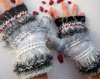 SALE 20% OFF / Hand Knitted Bohemian Gloves Women Accessories Boho Fingerless Striped Warm Wrist Warmers Winter Arm Romantic Feminine 1143