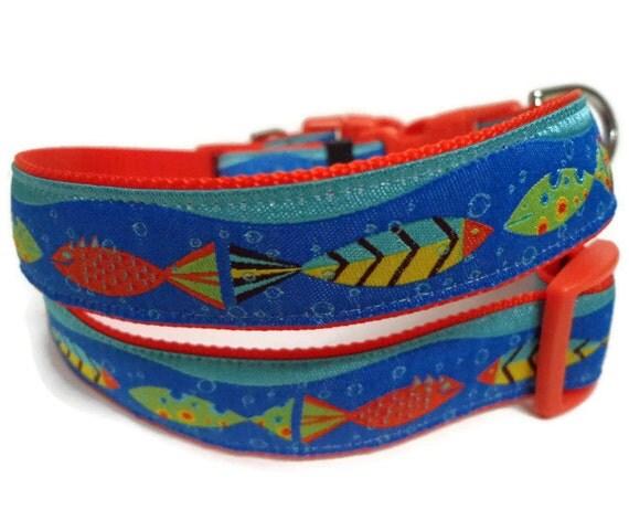 Nautical fish dog collar free custom engraved tag for Fish dog collar