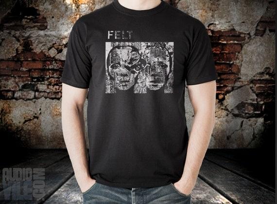 Felt T shirt screen print  black short sleeve splendour of fear band
