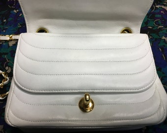 Classic white leather chanel bag