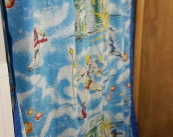 Vintage He-Man fabric shower curtain