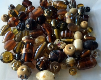 Brown Fancy Glass Beads Loose Bead Mix Assorted Jewlery Design