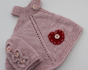 Hand Knit Baby Girl Set. Baby Top/Dress Hat Set. Knit Baby Dress. Knit Baby Hat with Ruffles. Pink Baby Dress and Beanie.
