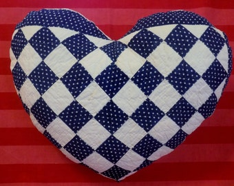 ANTIQUE QUILT ~*~ Beautifully HANDMADE 1800's Heirloom Quilted Heart Shaped Pillow ~*~ Hand Sewn Hand Stitched Antique Quilt * heart pillow