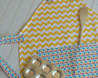 Kids Personalized Aprons - Yellow Chevron and Pinwheels - Embroidered Name, Monogram, Preschool, Toddler Smock
