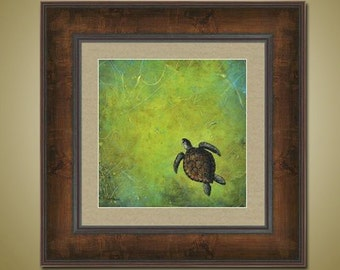 PRINT or GICLEE Reproduction -- Turtle Print, Sea Turtle, Nautical Art -- Slow and Steady