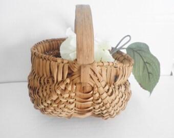 Antique Appalachian Egg Basket Hand Woven Split Oak Aged Patina Primitive