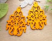 WP42 / # 2 Orange / Wood Filigree Lace Dangle For Earring/Laser Cut Lace Charm / Pendant / wooden ornaments / Light earrings/wood finding