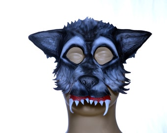 Wolf Handmade Genuine Leather Mask for Masquerades Halloween or Cosplay Costume - The Mangy Wolf