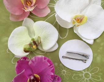 Choose your color-faux phalaenopsis orchid hair-clip-life like-READY to SHIP-wedding-tropical-bride-hair piece