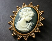 Green and White Cameo Cabochon Shank Button. Cameo Button in Bronze. Resin Button - 41mm x 35mm  (Qty 1)