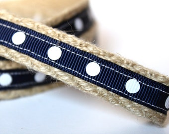 "Navy and White Dog Leash, 4 ft Leash, 5/8"" Wide Dog Leash, Navy Leash, Nautical Dog Leash, Polka Dot Leash"