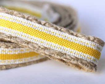 "Yellow and White Dog Leash, 6 ft Dog Leash, 5/8"" Wide Dog Leash, Summer Stripe Dog Leash"
