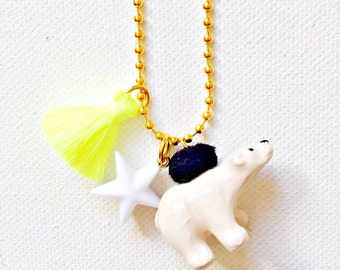 Charm Necklace for Little Girls, Polar Bear with Tassel, Winter Accessories