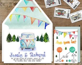 Wedding Invitation Suite: (VW Van, camper, hippie, boho, watercolor, pennants, forest) Happy Camper Suite DIGITAL