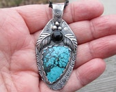Native American Inspired Turquoise and Black Onyx Sterling Silver Pendant