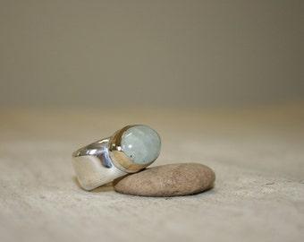 Avanturine Ring, Silver Ring, Avanturine  Silver Rings,  Silver  and Gold Ring, Avanturine  Jewelry, Birthstone Ring ,Ring Size 8