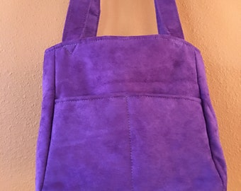 Florence 1610E  Purple Vintage Ultra Suede Purse, Knitting Bag, Small Project Bag, Self Standing and Expanding Knitting Bag, Purse, Purses
