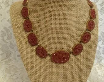 Art Deco Carnelian Glass Molded Necklace