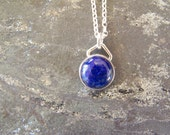 Lapis Lazuli Cabochon Necklace in Sterling Silver, READY TO SHIP