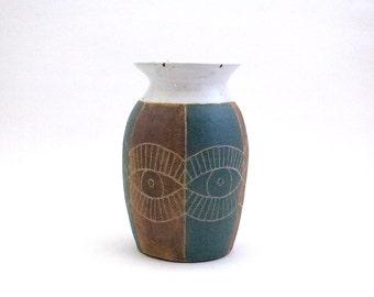 Ceramic Eyes Urn Vase, Brown and Teal