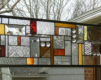 "Geometric Mission Study-Warm tones- 7"" x 24""-Stained Glass Panel"