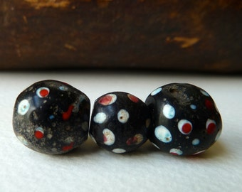 Antique Black Skunk Beads - African Trade Beads from Ethiopia  -  Old Venetian Glass Beads - Qty 36 pcs