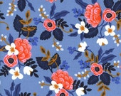 Periwinkle Navy and Coral Floral Cotton Fabric, Les Fleurs by Rifle Paper Co for Cotton and Steel, Birch Floral in Periwinkle, 1 Yard