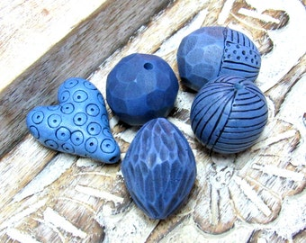 Blue Handmade Beads, Handmade Bead set for jewelry making, Artisan Beads, Hollow Beads, Blue bead set, Statement beads, Polymer Clay Beads