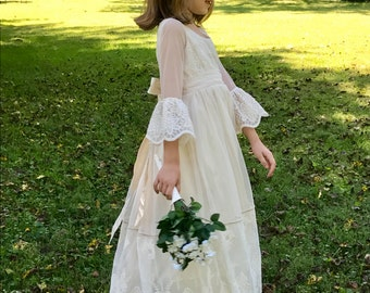 Ivory Flower Girl Dress - Shantung Silk with soft embroidered mesh netting - size 6X MB10041