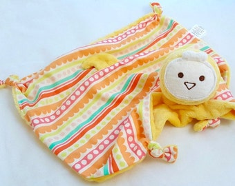 Baby Girl, Bird Security Blanket, Yellow Minky Bird, Baby Blanket, Lovey Blanket, Personalized Baby Toy, Ready To Ship, Teething Toy, Plush