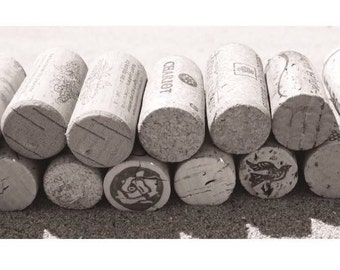 Corks in the sand: Black and White Photograph
