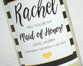 Wine Bottle Labels Maid Of Honor, Bridesmaid  - Personalized Bridal Party Gift Wine Bottle Labels - Wedding Wine Label Black Gold - Set of 4
